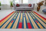 Morocco pamut (blue-yellow-red) csíkos kilim szőnyeg 120x180cm Kék-Sárga-Piros