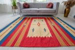 Morocco pamut (red-mustar-cream) kilim szőnyeg 120x180cm Piros-Mustár-Krém