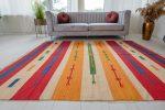 Morocco pamut (red-yellow) kilim szőnyeg 120x180cm Piros-Sárga