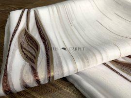 Kész függöny luxury fehér alapon barna leveles 300x260cm