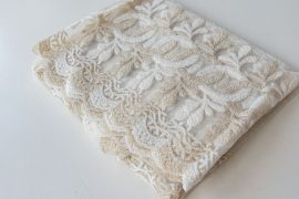 Kész luxury brillant krém beige virágos függöny 300x180cm