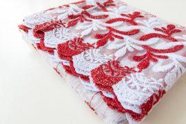 Kész luxury brillant fehér piros virágos függöny 300x180cm