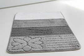 Fürdőszoba szőnyeg ezüst csíkos virág 50x80cm