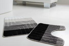 Fürdőszoba szőnyeg 2 részes fekete fehér széles csíkos