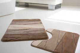 Fürdőszobaszőnyeg 2 részes bézs krém keresztbe csík