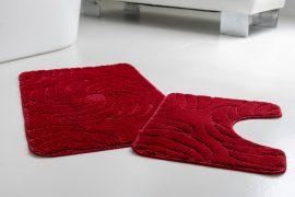 Fürdőszoba szőnyeg 2 részes piros indás