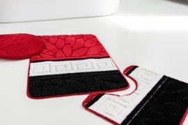 Fürdőszoba szőnyeg 3 részes black red stone