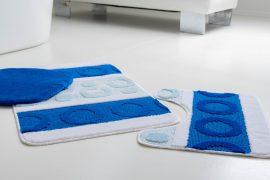 Fürdőszobaszőnyeg 3 részes  kék karikás