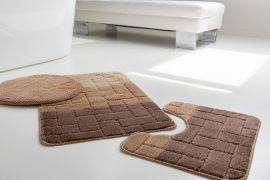 Fürdőszoba szőnyeg 3 részes barna bézs kockás