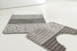 Fürdőszoba szőnyeg Anemon ezüst csíkos virág 2 részes szett