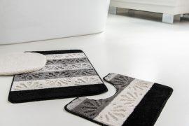 Fürdőszobaszőnyeg ezüst fekete kagylós 3 részes szett
