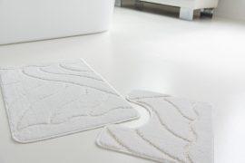 Fürdőszoba szőnyeg 2 részes fehér mintás 50x80cm