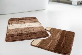Fürdőszoba szőnyeg 2 részes barna retro kockás