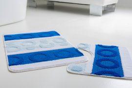 Fürdőszoba szőnyeg 2 részes kék karikás