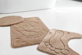 Fürdőszobaszőnyeg 3 részes bézs talpas