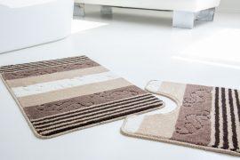 Fürdőszoba szőnyeg capucino csíkos kagylós 2 részes szett