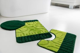 Fürdőszobaszőnyeg 3 részes zöld amőba