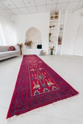 Kézi csomózású perzsa szőnyeg Beluc irán 388x100cm