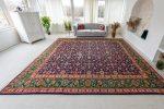 Kézi csomózású perzsa szőnyeg Kashan kék-zöld prémium 380x295cm