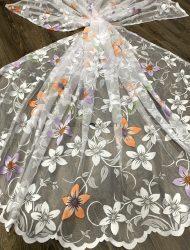 Kész függöny hófehér alapon narancs lila virág 300x250cm