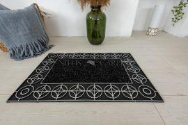 Karikás geometria keretes Ezüst fekete lábtörlő 45x75cm