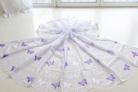 Kész függöny fehér lila lepkés 300x180cm