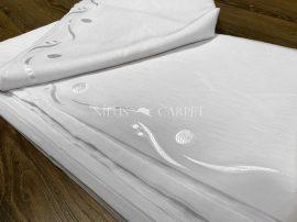 Függőny méterben hófehér alapon fehér 280cm magas karikás  hullámos