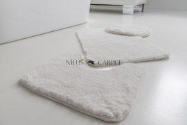 Shaggy fehér vajpuha 3 részes fürdőszoba szőnyeg 50x80cm