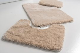 Shaggy beige vajpuha 3 részes fürdőszoba szőnyeg 50x80cm