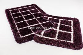 Valentin shaggy kockás fürdőszoba szőnyeg 2 részes lila 50x80cm