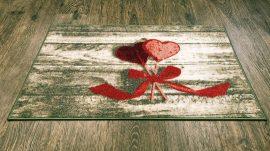 Belépő szőnyeg gumis aljjal masnis szív 50x80cm