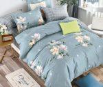 Charlotte flanel gray blue flowers ágynemű garnitura 3 részes