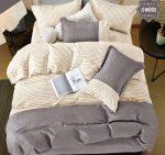 Charlotte flanel krém szürke csíkos ágynemű garnitura 3 részes