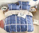Charlotte flanel blue kockás ágynemű garnitura 3 részes