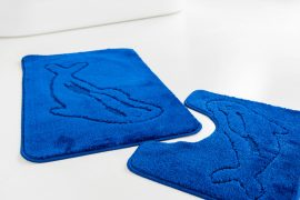 Fürdőszoba szőnyeg delfines királykék 2 részes szett