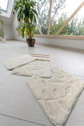 Fürdőszobaszőnyeg teljes krém barna csík 3 részes