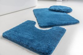 Powder shaggy vajpuha blue (királykék) 3 részes 50x80cm fürdőszobaszőnyeg