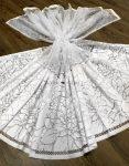 Kész függöny fehér alapon márvány fehér levél 300x160cm