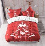 Karácsonyi 3 részes ágynemű garnitura fehér piros nagy rénszarvas mintás