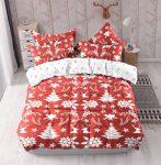 Karácsonyi 3 részes ágynemű garnitura fehér piros karácsonyfa mintás