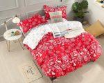 Karácsonyi 3 részes ágynemű garnitura piros rénszarvas mintás