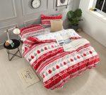 Karácsonyi 3 részes ágynemű garnitura piros szürke rénszarvas mintás