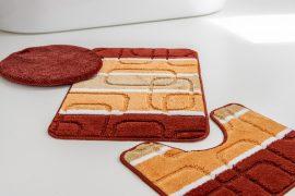 Fürdőszobaszőnyeg  Retro kockás narancs 3 részes szett 50x80cm