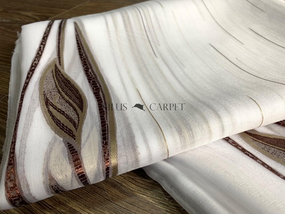 Kész luxury fehér alapon barna leveles 300x260cm függöny