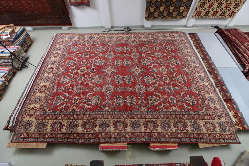 Kazak kézi csomózású nagyméretű gyapjú perzsa szőnyeg 553x416cm