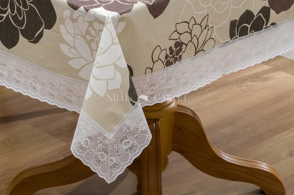 Ariana barna nagy rózsás lemosható asztalterítő 132x178cm