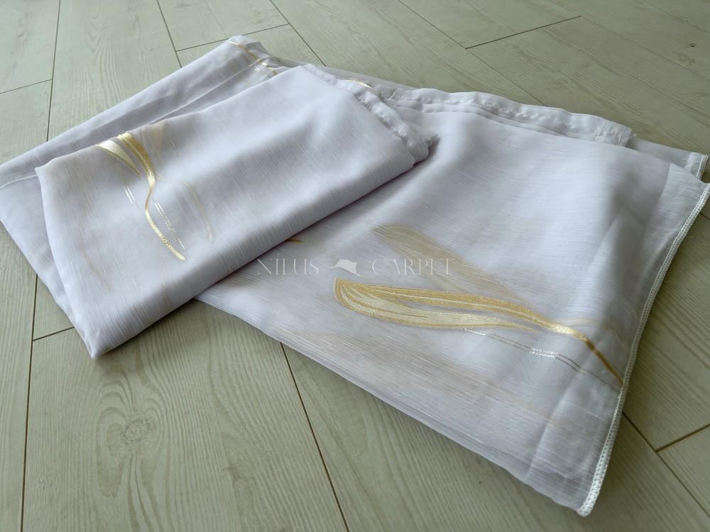 Kész függöny luxury fehér alapon Arany ezüst leveles 300x260cm