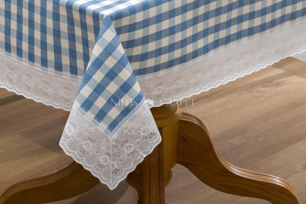 Ariana Kék kockás garden lemosható asztalterítő 122x152cm