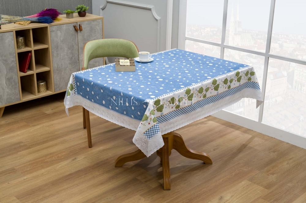 Ariana garden Kék leveles lemosható asztalterítő 122x152cm