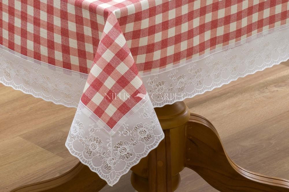 Ariana piros kockás garden lemosható asztalterítő 122x152cm